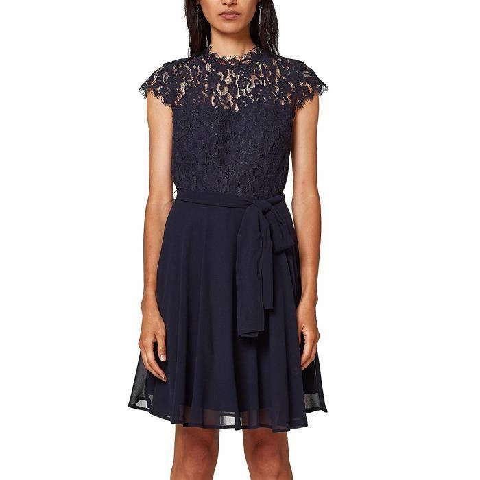 ESPRIT Collection 028eo1e016 Robe de soirée, Bleu (Navy 400), 38 (Taille Fabricant: 36) Femme - 028EO1E016-400
