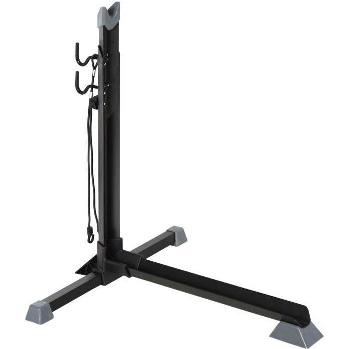 Râtelier vélo range vélo avec fixations hauteur réglable dim. 66L x 56I x 63-73,5H cm métal PP noir 66x56x73cm Noir