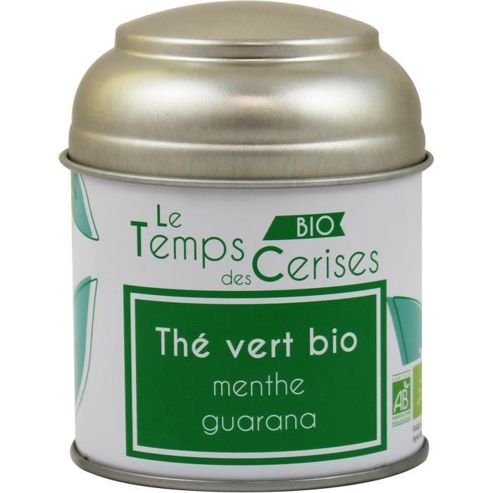 LE TEMPS DES CERISES Thé Vert MenThé Guarana Bio Boite Métal 30g
