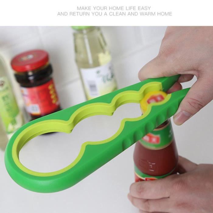 2 pcs Ouvre-bouteille multifonctionnels , ouvre-bocal manuel Pince Outils à main de cuisine à domicile vert