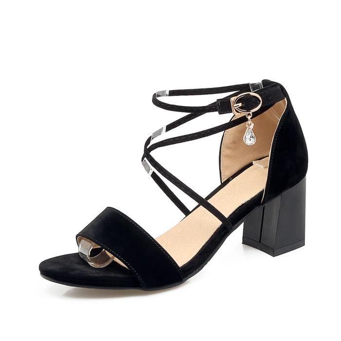 Oaleen Sandales Ouverte Femme Sexy Talons Moyen Lanière Croisé Chaussures Eté Soirée Noir 46