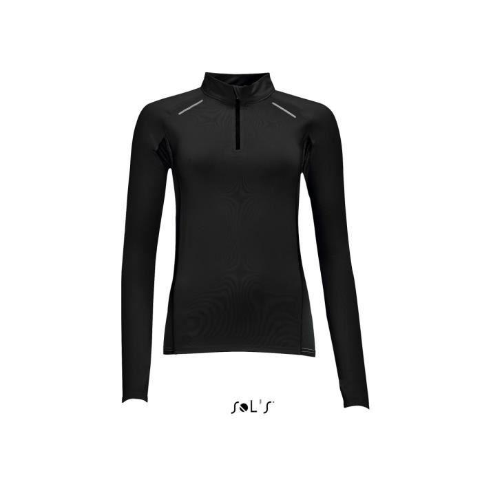 t-shirt running manches longues - Femme - 01417 - noir