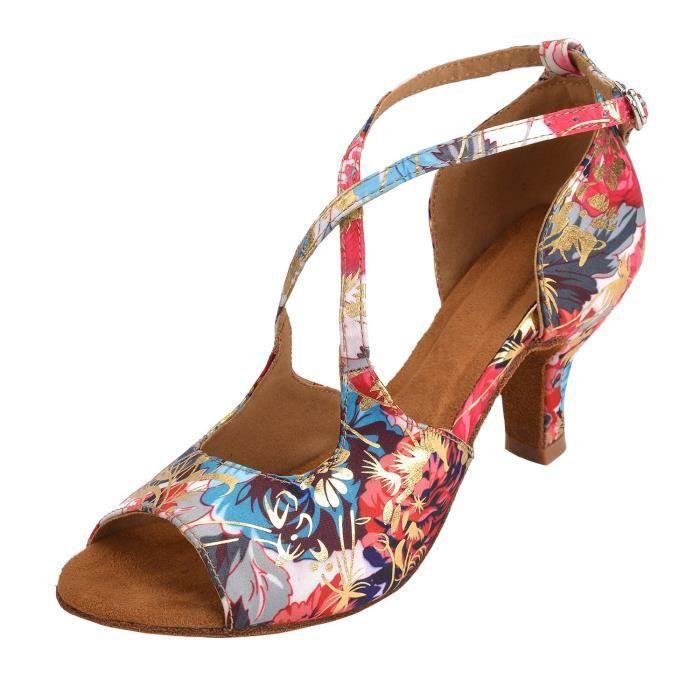 Chausson De Danse Danse de salon intérieur de femmes Chaussures pour Salsa Latin Tango Floral Satin environ 7,5 cm talon NK07A Taill