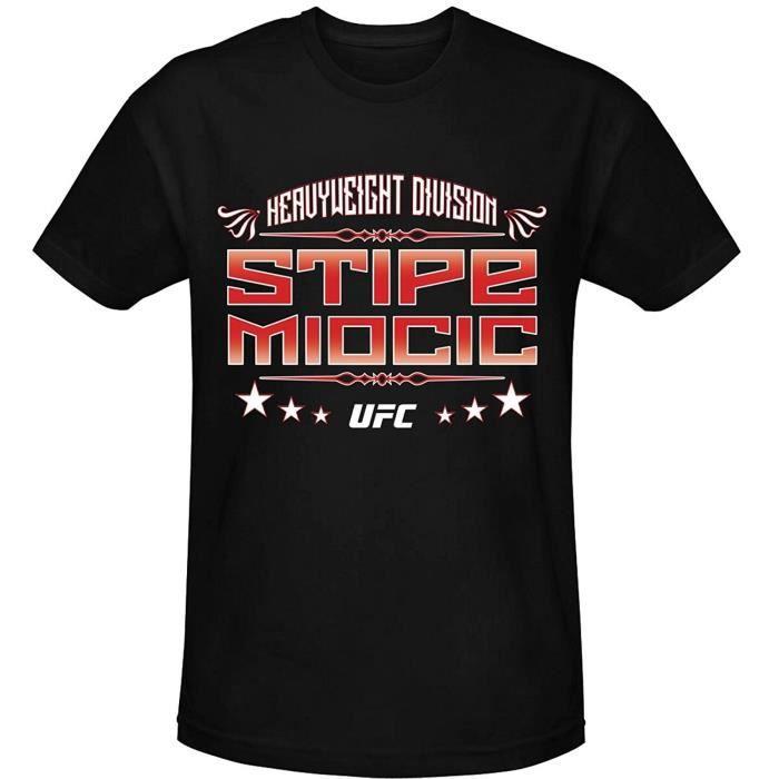 Homme Fashion Pas Cher Homme Tee Shirt Ufc Stipe Miocic Graphic Noir Imprimé Tee Shirt