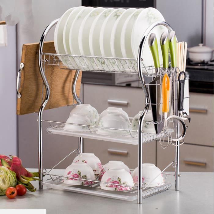 AvanC 3 Tier Égouttoir à Vaisselle en Acier Inoxydable Étagère Couverts Plat Rack Cuisine Plat Séchage Stockage Rack