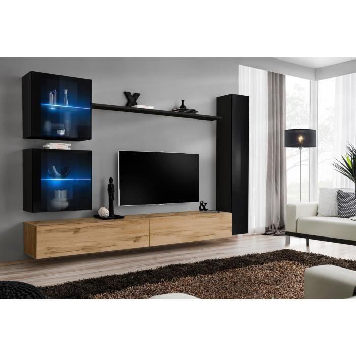 Ensemble meuble salon mural SWITCH XVIII design, coloris chêne Wotan et noir brillant. 40 Marron