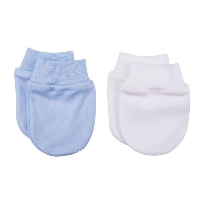 Moufles naissance en coton biologique- lot de 2 paires - gants anti griffures U Blanc / Bleu