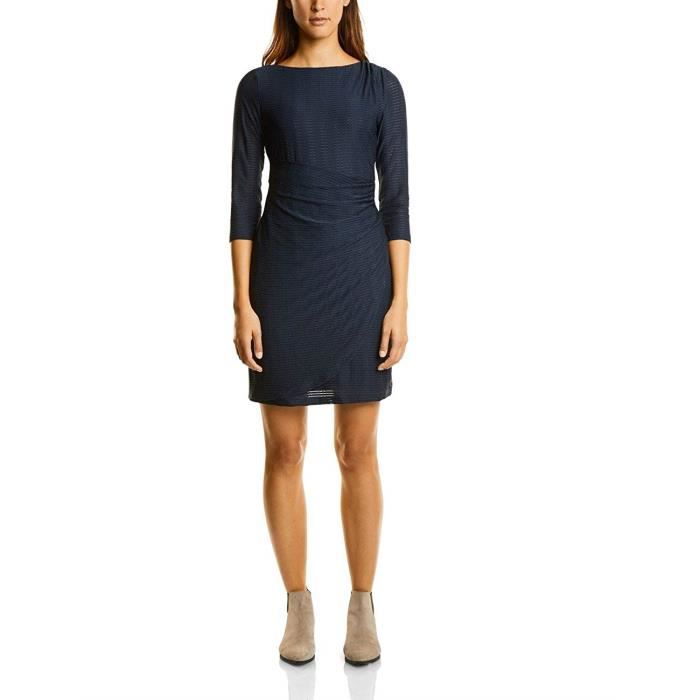 Street One Jaquard Jersey Dress with Gatherings Robe, Blau (Night Blue 10109), 46 (Taille du Fabricant: 44) Femme - A140536-10109