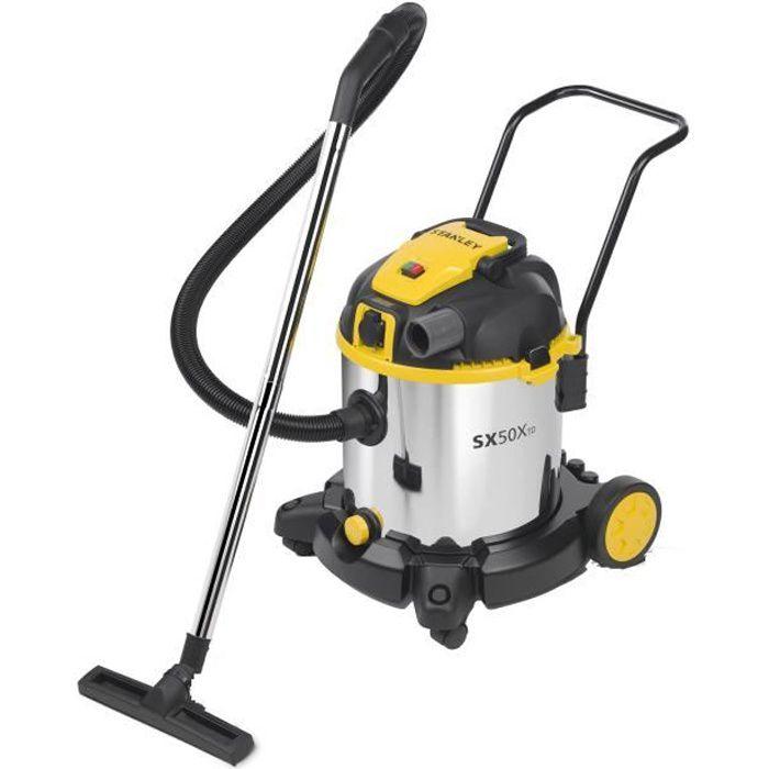 STANLEY Aspirateur eau et poussière 1600 W cuve 50 L en inox avec prise pour outil électroportatif