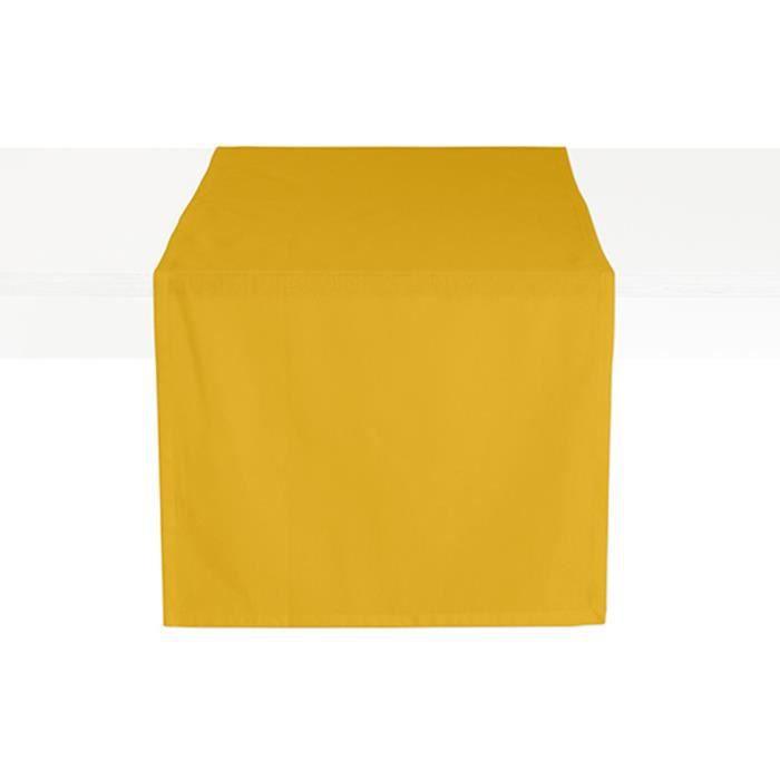 Chemin de table coton CEREMONY 50 x 150 Safran