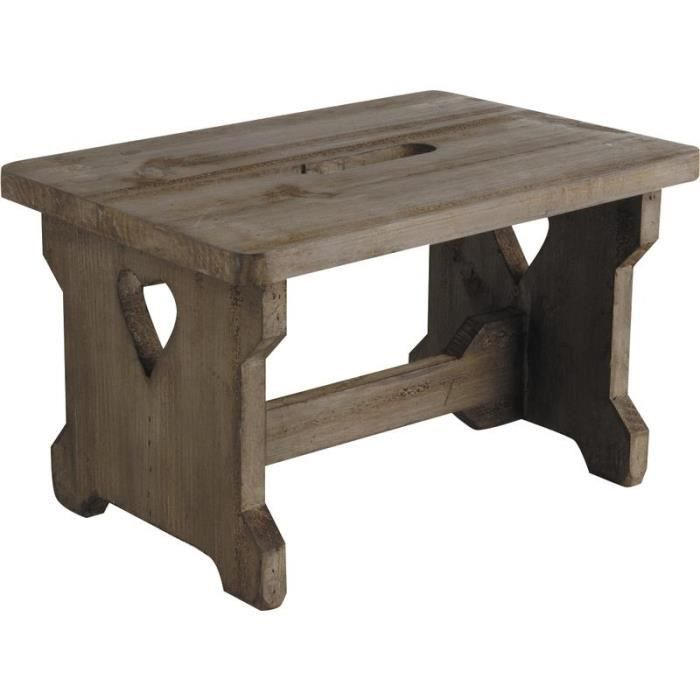 tabouret repose pieds en bois vieilli achat vente tabouret cdiscount. Black Bedroom Furniture Sets. Home Design Ideas