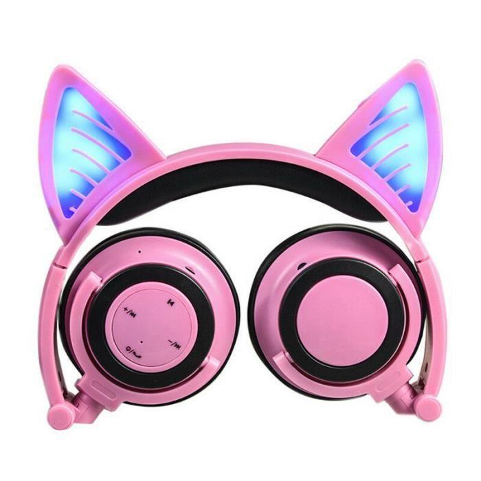 CASQUE - ÉCOUTEURS Pliable chat oreille LED musique lumières casque G