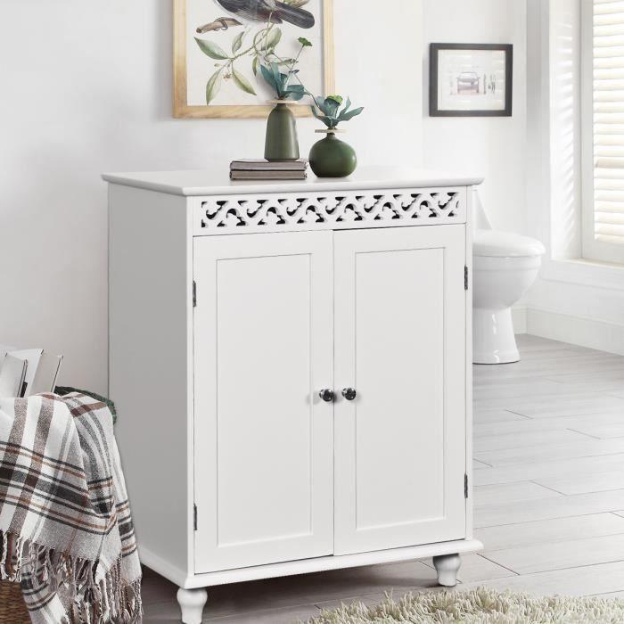 Meuble Bas Salle de Bain Commode de Rangement Toilette en Bois en MDF Blanc  avec 2 Portes 60 x 35 x 77cm