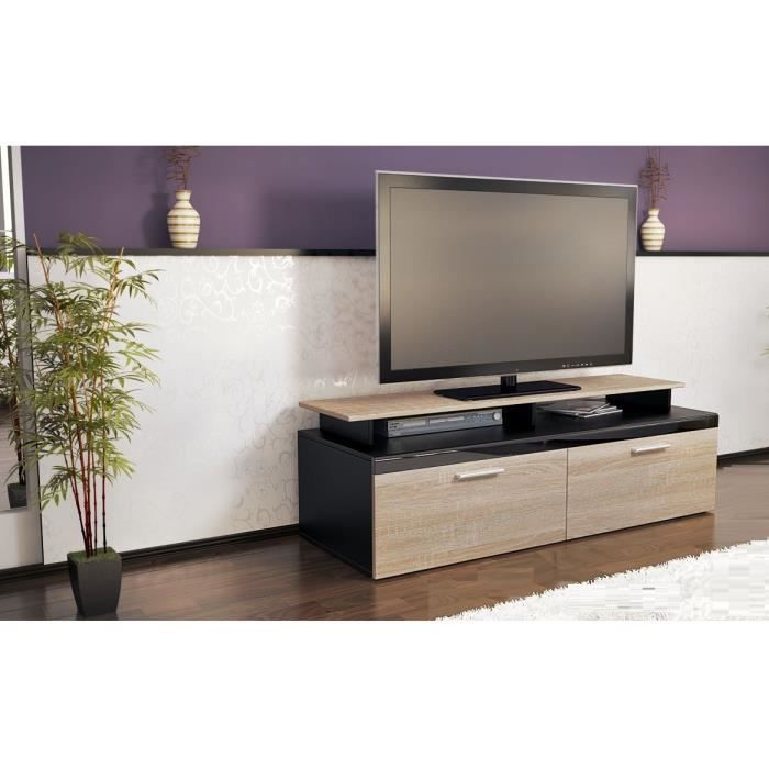 meuble tv noir bois brut 140 cm achat vente meuble. Black Bedroom Furniture Sets. Home Design Ideas