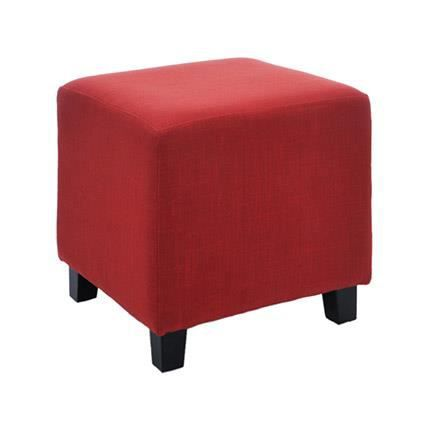 pouf carr en lin coloris rouge achat vente pouf poire lin bois cdiscount. Black Bedroom Furniture Sets. Home Design Ideas