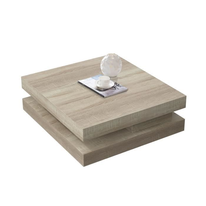 Table basse carr amovible coloris bois sonoma clair for Table carre but