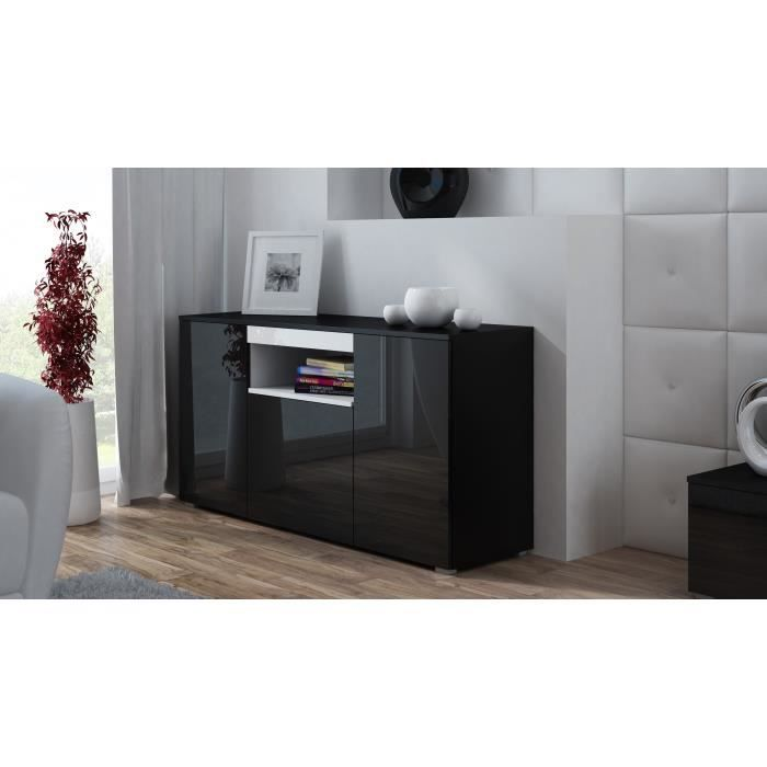 commode de salon design elva noir blanc achat vente buffet bahut commode de salon design. Black Bedroom Furniture Sets. Home Design Ideas