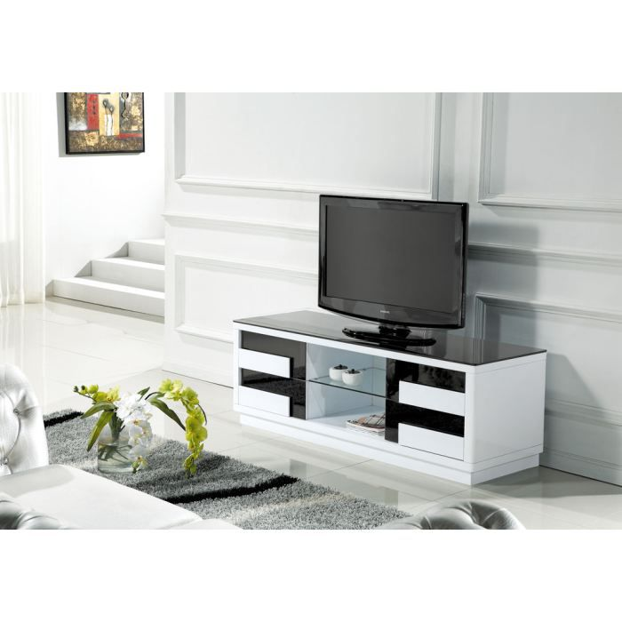 meuble tv design laqu blanc et noir quadra achat. Black Bedroom Furniture Sets. Home Design Ideas