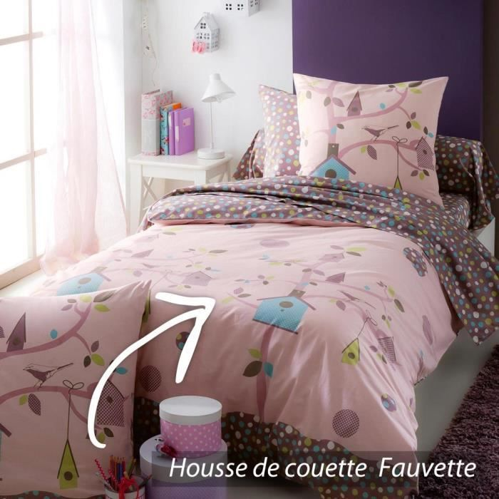 housse de couette 200x200 cm 100 coton fauvette achat. Black Bedroom Furniture Sets. Home Design Ideas