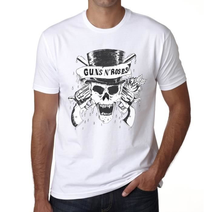 guns n 39 roses skull t shirt homme one in the city blanc. Black Bedroom Furniture Sets. Home Design Ideas
