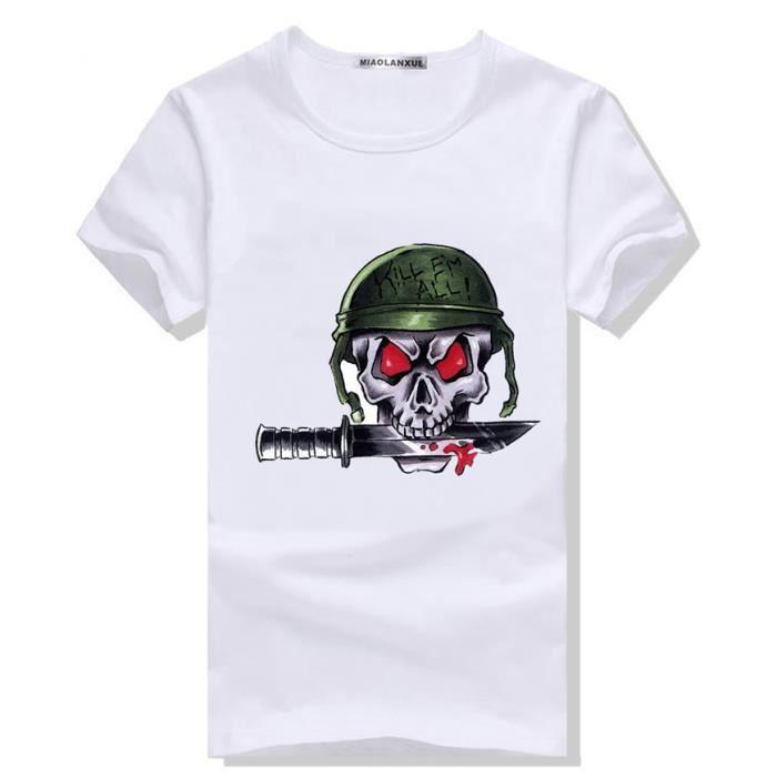 Tshirt Homme Imprimer Manche Courte Dessin De Tete De Mort Stylé