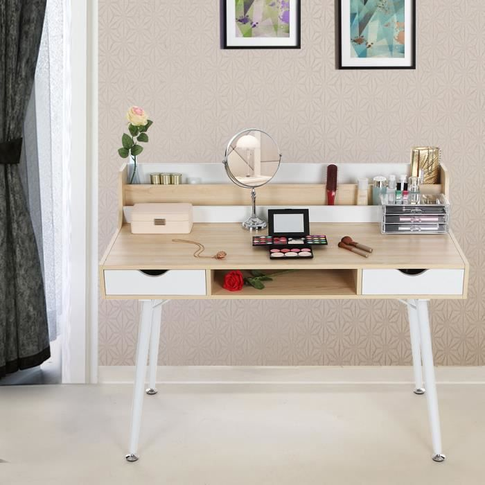 bureau informatique coiffeuse table de maquillage avec 2 tiroirs 120 x 60 x 94 cm l x l x h. Black Bedroom Furniture Sets. Home Design Ideas