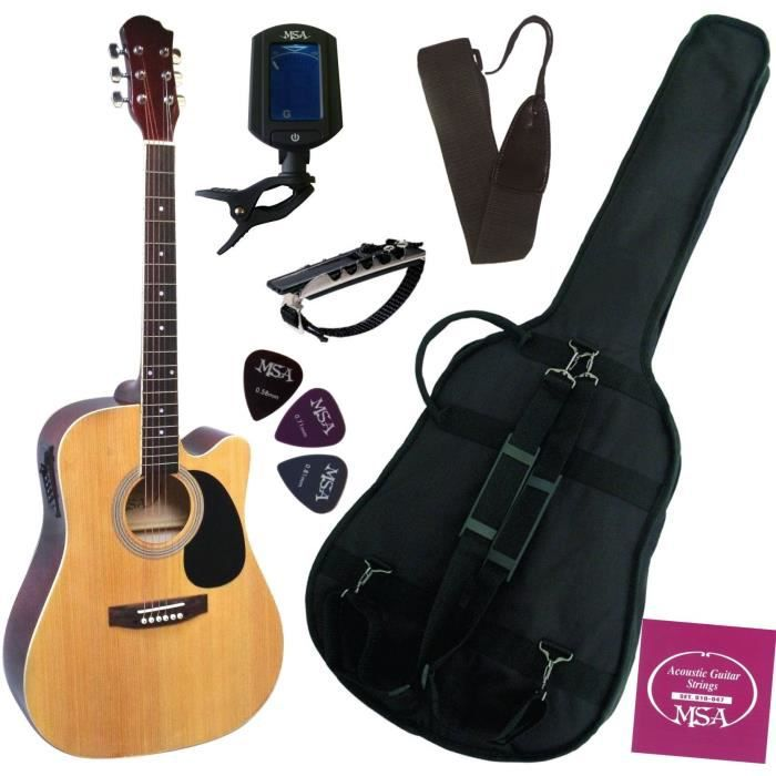 pack guitare electro acoustique accordeur lectronique 6. Black Bedroom Furniture Sets. Home Design Ideas