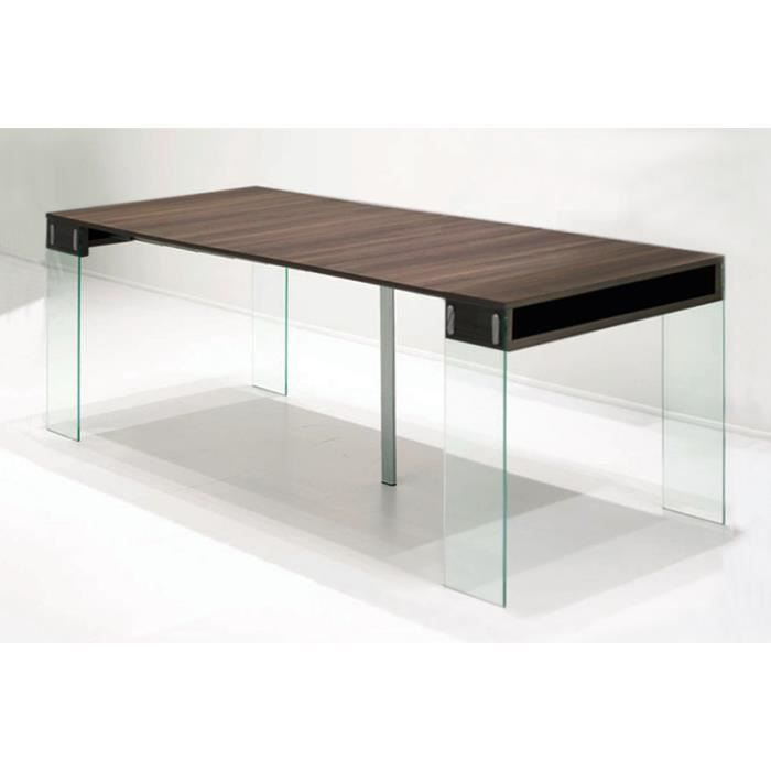 Table console extensible town noyer 4 allonges achat for Table extensible 4 metres