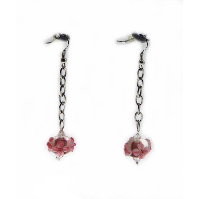 Boucles d/'oreilles créole bleu métal argenté bijoux fantaisie neuf noir rose