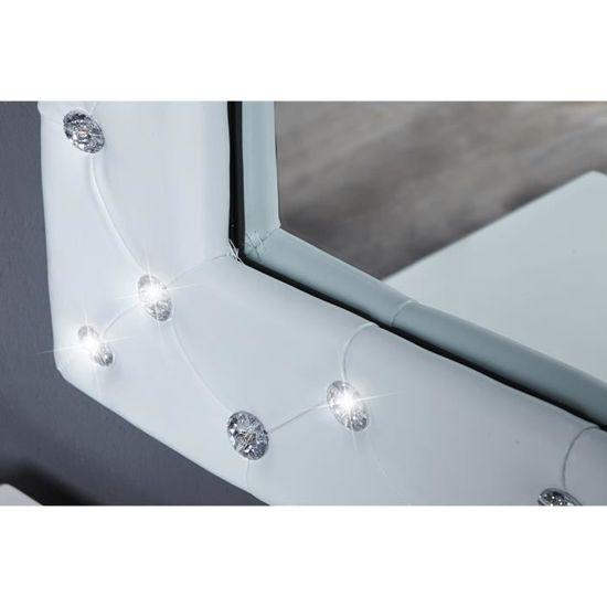 Miroir mural design 80 cm en simili cuir blanc capitonné de ...