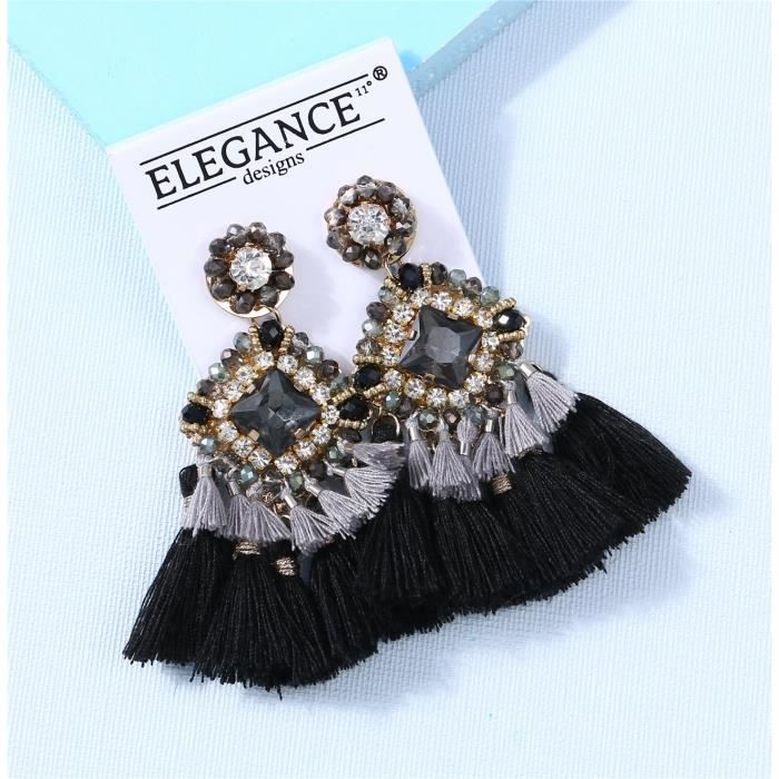 King Femmes cristal perles Tassel Dangle Boucles doreilles Vintage Statet Noir Tassel Dangle Boucles doreilles pourSYVQ2
