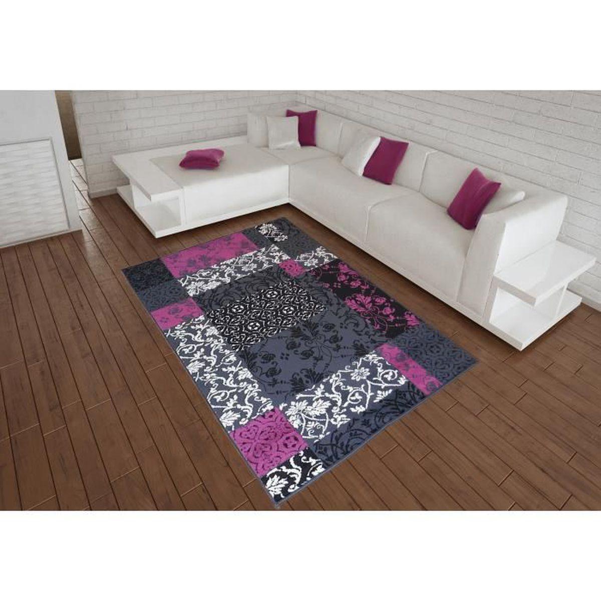 Chambre Baroque Noir Et Violet tapis salon patchwork baroque noir violet debonsol