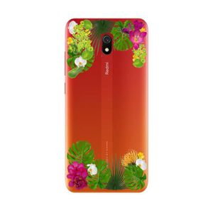 COQUE - BUMPER Coque Redmi 8A fleur exotique tropical transparent