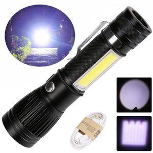 LAMPE DE POCHE T6 COB zoomable LED 18650 USB lampe de poche recha