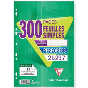 BLOC NOTE CLAIREFONTAINE - Feuilles simples blanches - 4 col