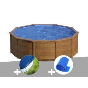 PISCINE Kit piscine acier aspect bois Gré Sicilia ronde 4,