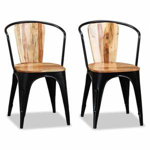 CHAISE Chaise de salle à manger 2 pcs Bois d'acacia massi