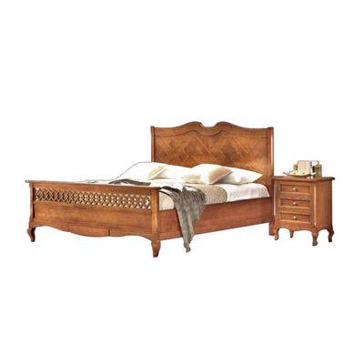 Lit classique en bois avec tête de lit marquetée
