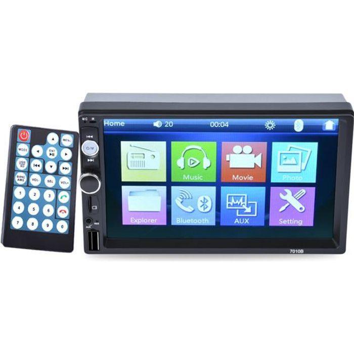 Autoradio 7- Voiture Radio 2 DIN MP3 MP5 Lecteur Multimédia 7010B Fonction de Bluetooth/Caméra de recul/FM/Contrôle du volant
