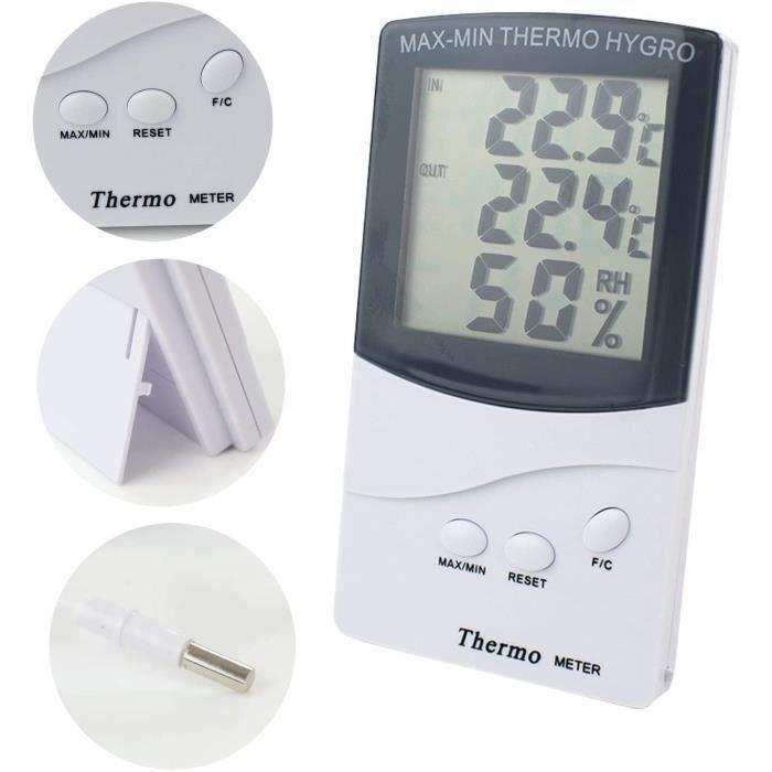 CO Thermomètre Intérieur Extérieur, Thermomètre Hygromètre Digital, LCD