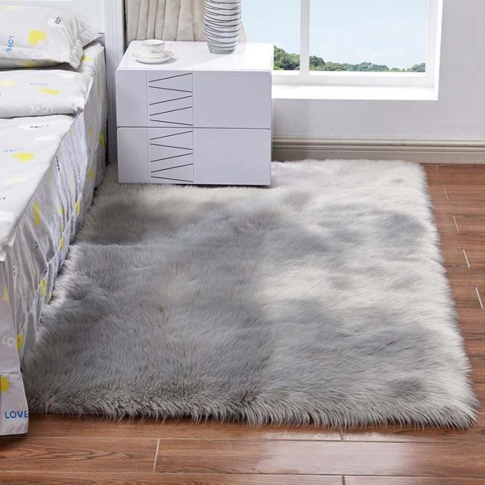 TAPIS chambre Tapis Salon carpet d'enfant Shaggy Moquette , Peau de mouton synthétique(60 x 90 CM, Gris)