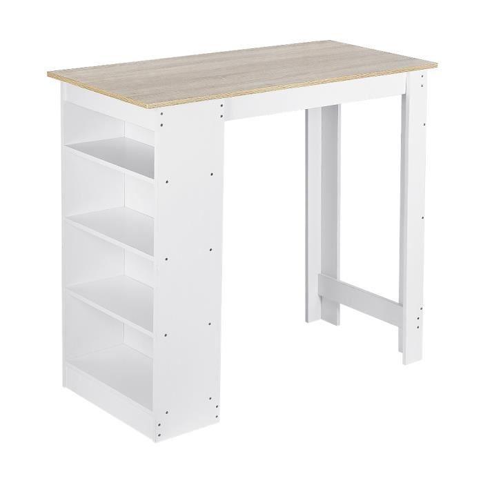 Table de Bar de 2 à 4 Personnes Style Contemporain avec Étagere de Rangement - Blanc et Chêne