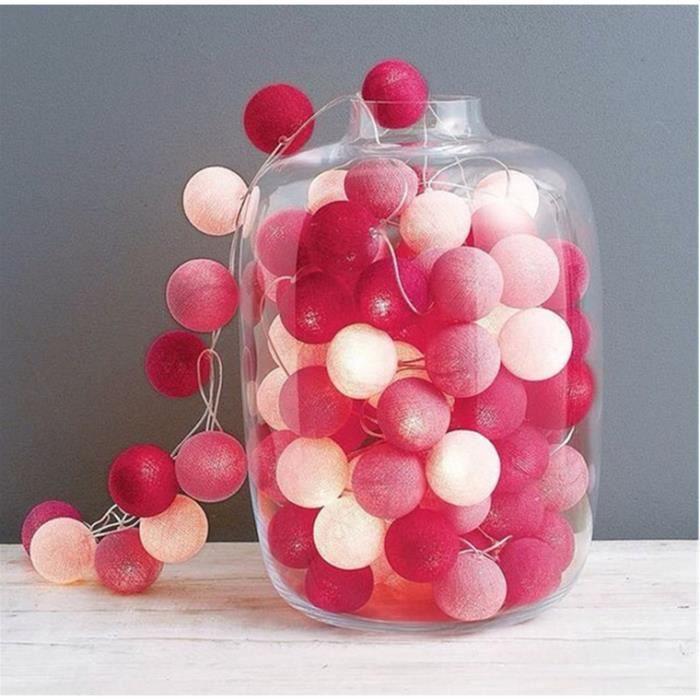 Guirlande Lumineuse LED à Piles avec 20 Boules de Coton Blanc rose