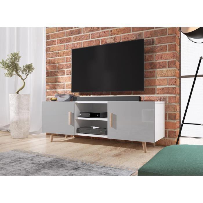 Décoro Meuble TV deux portes LASSE 2, style scandinave décor blanc mat et gris brillant