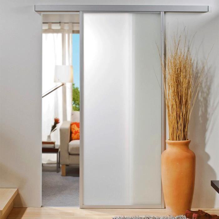 Porte intérieure coulissante en verre 74 x 203 cm, blanc mat, cadre alu Variante:
