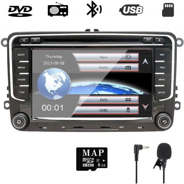 NVGOTEV Autoradio GPS Navigator Compatible pour Golf 7 pouces Double Din HeadUnit 2 Din Car Stéréo avec DVD CD Player Support GPS