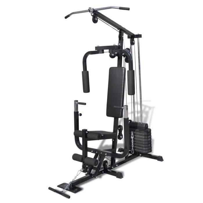 Station de Musculation multifonction, Station de Fitness avec 8 Poids pour fitness d'entraînement - 150 x 99 x 204 cm