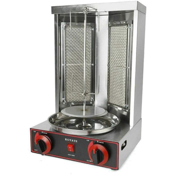 Machine à kebab, verticale, avec interrupteur de réglage de la température, four de rôtissage, 3000 W, sous alimentation gaz ou 298