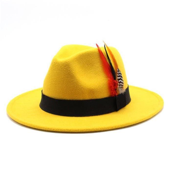 yellow 56-58cm -Femmes hiver chapeau solide large bord plume panama hip hop tirlby chapeaux pour hommes mariage église formel kaki b
