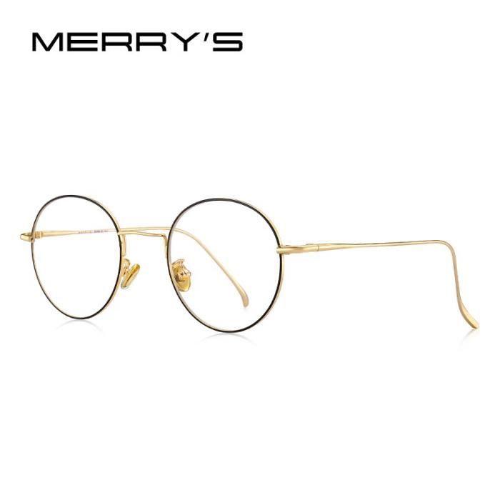 Montures de Lunettes de vue,MERRYS lunettes rondes pour femmes DESIGN tendance tendance, lunettes avec - Type C04 Black Gold